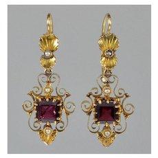 Antique Victorian 14K Gold Garnet Pearl Dangle Earrings C.1890