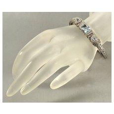 John Hardy Batu Sari Bracelet 18K Gold Sterling Diamond Blue Topaz Woven Chain
