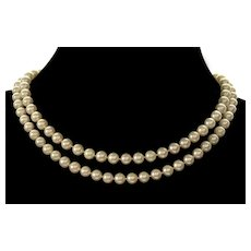 "Akoya Pearl Necklace 33"" 14K Gold Clasp C.1950"