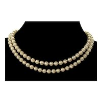 """Akoya Pearl Necklace 33"""" 14K Gold Clasp C.1950"""