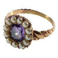 Antique Georgian 9K Gold Pearl Amethyst Ring C.1820 Size 5 1/2