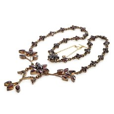Antique Victorian Bohemian Garnet Floral Brass Necklace C.1890