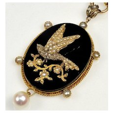 Antique Victorian Bird 18K Gold Diamond Pearl Onyx Pendant C.1860