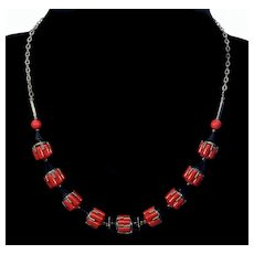 Art Deco Jakob Bengel Machine Age Necklace Chrome Cherry Red Galalith C.1930