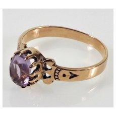 Antique Victorian 10K Rose Gold Amethyst Ring C.1890 Size 5 3/4