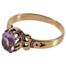 Antique Victorian 9K Rose Gold Amethyst Ring C.1890 Size 5 3/4
