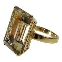 Vtg 18K Gold Smoky Quartz Cocktail Ring C.1940 Size 8 1/2