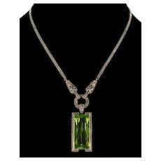 Vtg Lime Green Crystal Marcasite Sterling Pendant Enhancer Necklace By Designer