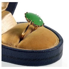 Antique Victorian 18K Rose Gold Jadeite Jade Ring C.1890 Size 6