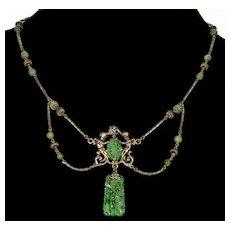 Antique Art Nouveau Jadeite Jade Cherubs Sterling Necklace C.1900