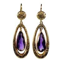 Antique Victorian 14K Gold Amethyst Dangle Earrings C.1880