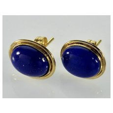 Natural Ultramarine Lapis Lazuli 14K Gold Stud Earrings C.1950
