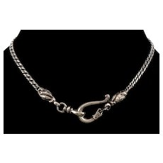 Antique Georgian Sterling Snake Hook Watch Chain Necklace C.1820