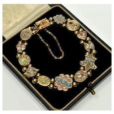 Antique Victorian Gold Slide Bracelet Black Opal Turquoise Pearl Etc. C.1880