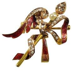 Antique Georgian Angel Wing Arrow Enamel 18K Gold Diamonds Brooch Pin C.1820