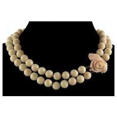 Vtg Fine Quality 14K Caved Rose Angel Skin Coral 2-strand Necklace 133 Gr