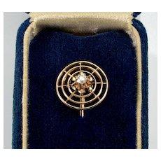 Antique Edwardian 14K Gold Diamond Target Stick Pin Tie PIn C.1900
