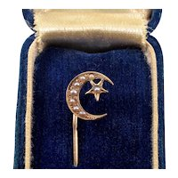 Antique Edwardian 14K Gold Pearl Crescent And Star Stick Pin Tie Pin C.1900