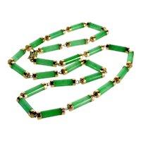 Vtg 14K Rose Gold Jadeite Jade Necklace C.1950