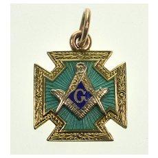 Antique Victorian 14K Gold Enamel Masonic Maltese Cross Fob Pendant Blue Lodge Knights Templar C.1890