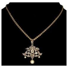 Antique Victorian Belle Epoque French Rose Cut Diamond Pearl Pendant Brooch C.1890