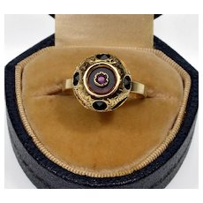 Antique Victorian 18K 14K Gold Star Ruby Blood Stone Ring C.1880 Size 6 1/2