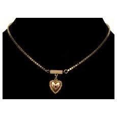 Antique Victorian 10K Rose Gold Garnet Sweet Heart Sweetheart Pendant Necklace C.1880