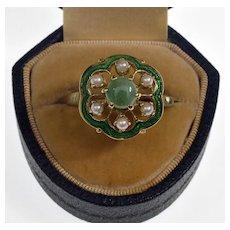 Antique Edwardian 14K gold Guilloche Enamel Jade Pearl Ring C.1900 Size 11 ¾
