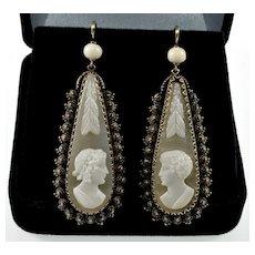 Antique Georgian Etruscan Revival 14K Gold Cameo Wedding Earrings C.1820