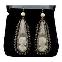 Antique Georgian Etruscan Revival 14K Gold Cameo Wedding Earrings C.1820