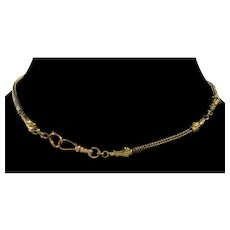 Antique Georgian 10K Gold Eagle Head Snake Watch Chain Necklace Dog Clip Bolt Clasps C.1820