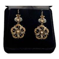 Antique Edwardian 14K Gold Enamel Pearl Dangle Earrings C.1900