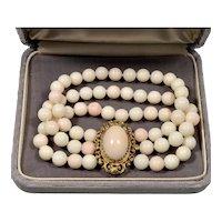 Vintage Fine Angel Skin Coral 14K Gold Bead Bracelet C.1950