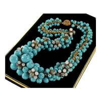 Frank Hess For Miriam Haskell Turquoise Glass Necklace C.1940