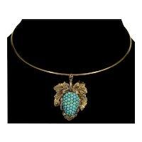 Antique Victorian 14K Persian Turquoise Berry Fruit Pendant Pin C.1890