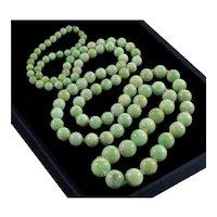 "Antique Art Deco Jadeite Jade Bead Necklace 32"""