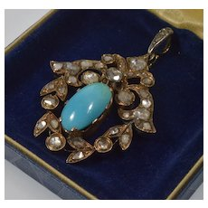 Antique Georgian French Diamonds Turquoise Pendant 18K Gold Over Sterling C.1820