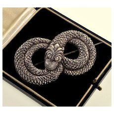 Antique Victorian Sterling Coiled Snake Brooch Pin C.1890