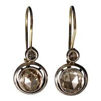 Antique Victorian 14K Gold 1 CTW Diamonds Earrings C.1880