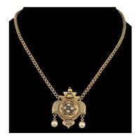 Antique Victorian Etruscan Revival 14K Gold Pendant Chain Necklace C.1860