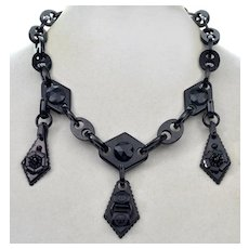 Antique Victorian Whitby Jet Chain Necklace 3 Carved Dangles Mourning C.1860