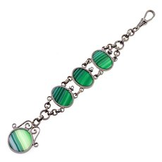 Antique Art Deco Green Banded Agate Silver Plated Watch Fob Pendant C.1920
