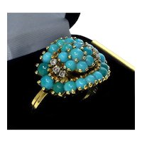 Vintage 18K Yellow Gold Diamonds Turquoise Ring Size 6 C.1930