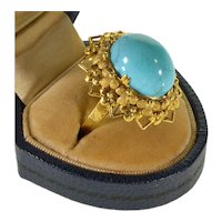 Antique Victorian Filigree 14K Gold Persian Turquoise Ring Size 7