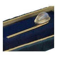 Antique Edwardian 18K Platinum Moonstone Stick Pin Stickpin Tie Pin Tiepin C.1900