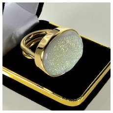 Designer 14K Gold Cocktail Ring 29 Grams Saks 5th Ave Store Quartz Druzy