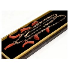 Antique Georgian 9K Gold Carved Salmon Coral Good Luck Charms Necklace C.1820