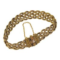 Antique Victorian Etruscan Revival 14K Braided Bracelet Fox Tail Chains Diamond C.1860