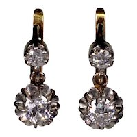Antique French 18K Gold Platinum 0.4 CTW Diamond Earrings C.1900