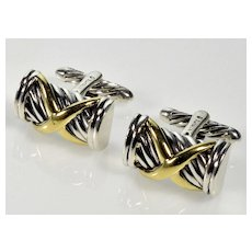 David Yurman 18K Gold Sterling Cufflinks $250